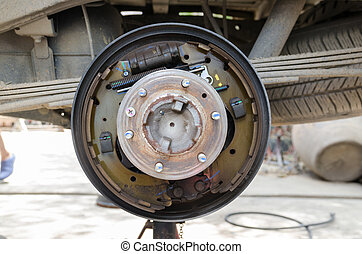 Rear drum brake assembly on pick-up truck