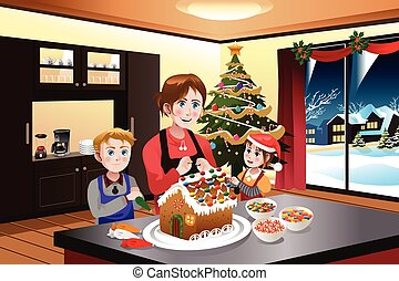 Mother and Kids Making Gingerbread House - A vector...