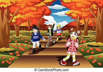 Kids Hiking in the Fall Season - A vector illustration of...