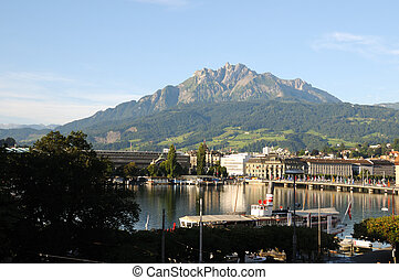 Lucerne and Pilatus - Mount Pilatus towering over Lucerne,...