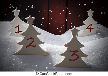 Four Christmas Trees, Snow, Snowflakes, Numbers 1, 2, 3, 4 -...