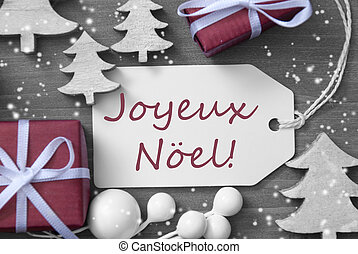 Label Gift Tree Snowflakes Joyeux Noel Means Merry Christmas...