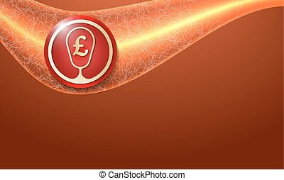 abstract background and golden pound sterling symbol