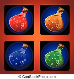 potions - icons of ancient magical drinks in flasks