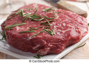 Marble beef on a cutting board