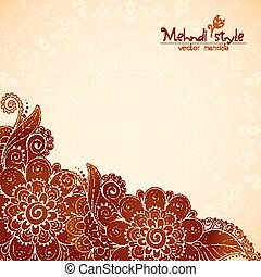 Floral vintage ethnic background in Indian mehndi style -...