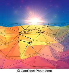 Abstract triangles polygonal surface with sunlight on...