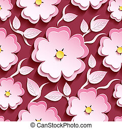 Pink seamless pattern with 3d sakura and leaves - Trendy...