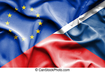 Waving flag of Czech Republic and EU