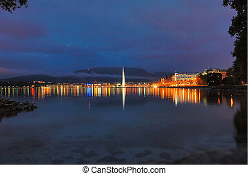 Geneva Lakefront by Night - Geneva lake front with the city...