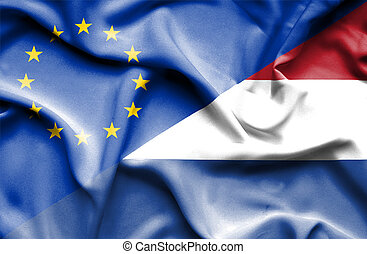 Waving flag of Netherlands and EU