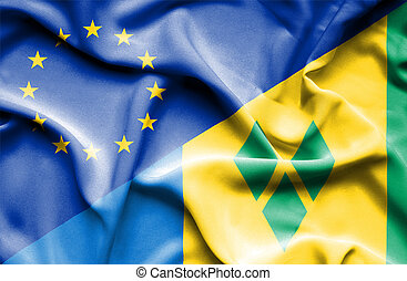 Waving flag of Saint Vincent and Grenadines and EU - Waving...