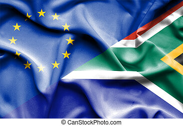 Waving flag of South Africa and EU