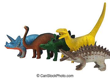 dinosaurios, foto, aislado, juguetes