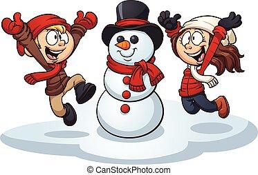 Winter kids - Cartoon kids building a snowman. Vector clip...