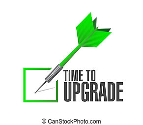 time to upgrade check dart sign concept illustration design...