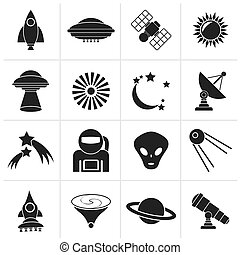 space and universe icons - Black astronautics, space and...