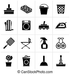 Household objects and tools icons - Black Household objects...