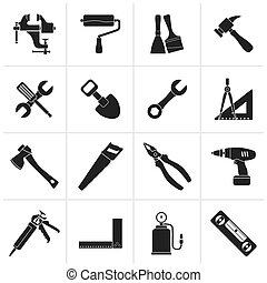 Construction work tool icons - Black Building and...