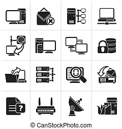 Computer Network and internet icons - Black Computer Network...