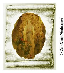 Parchment and Virgin Mary - Illustration Old Paper Scroll...