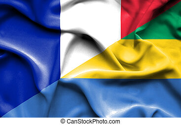 Waving flag of Gabon and France