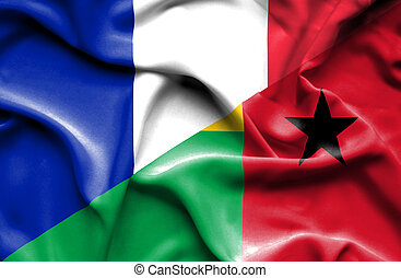 Waving flag of Guinea Bissau and France