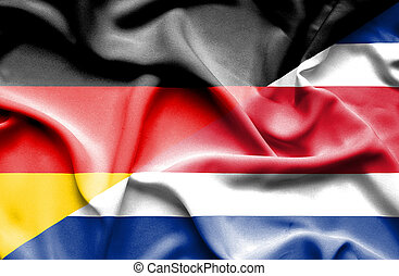 Waving flag of Costa Rica and Germany - Waving flag of Costa...