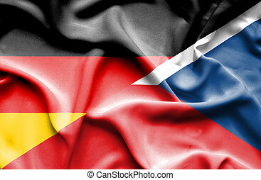 Waving flag of Czech Republic and Germany