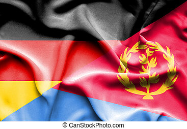 Waving flag of Eritrea and Germany - Waving flag of Eritrea...