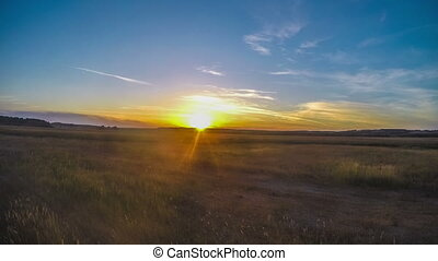 Timelapse landscape sunset field meadow nature sun sets...