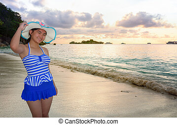 Girl on the beach at Similan Island, Thailand