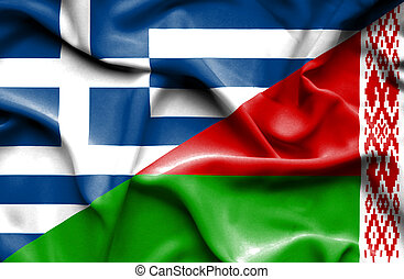 Waving flag of Belarus and Greece