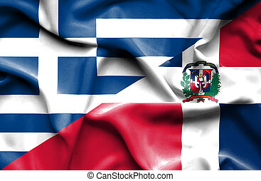 Waving flag of Dominican Republic and Greece