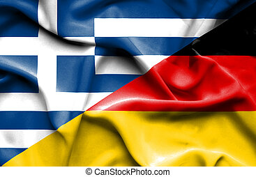 Waving flag of Germany and Greece