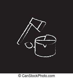 Deforestation icon drawn in chalk - Deforestation hand drawn...