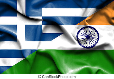 waving, bandeira,  Índia, Grécia