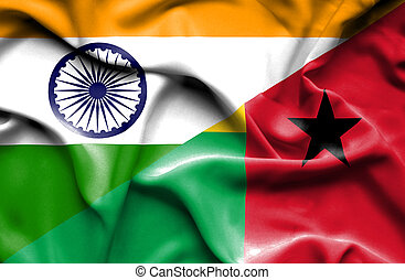 Waving flag of Guinea Bissau and India - Waving flag of...
