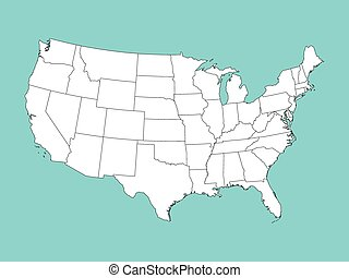 white vector map of United States of America on blue background