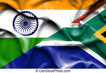 Waving flag of South Africa and India