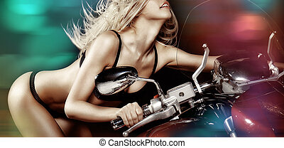 Sexy blond girl on motorcycle - Sexy blond girl riding a...