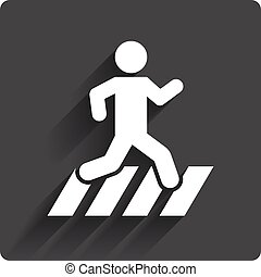 Crosswalk icon Crossing street sign Gray flat square button...