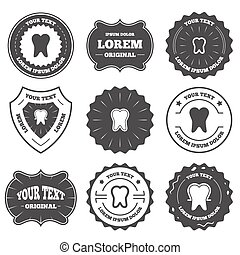 Tooth enamel protection icons Dental care signs - Vintage...
