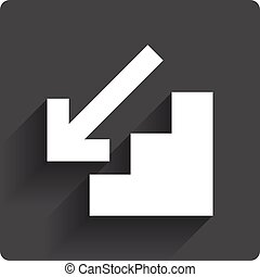 Downstairs icon. Down arrow sign. Gray flat square button...
