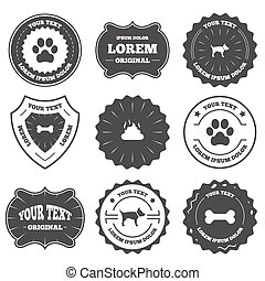 Pets icons Dog paw and feces signs - Vintage emblems, labels...