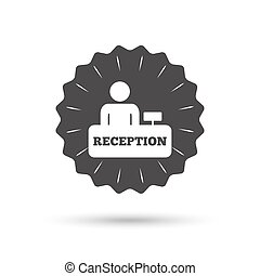 Reception sign icon. Hotel registration table. - Vintage...