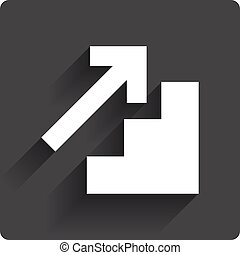 Upstairs icon Up arrow sign Gray flat square button with...