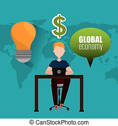 Global economy, money and business design, vector...