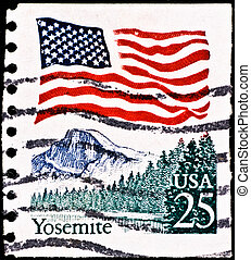 postage stamp with Yosemite National Park