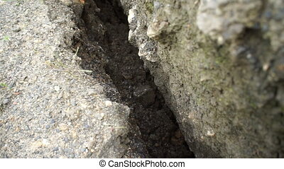 Geology Crack in Ground - Close up shot of a deep geological...
